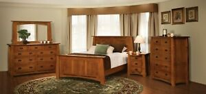 Amish 5-Pc Mission Bedroom Set Tenons Inlays Solid Wood Queen King Bed Colebrook