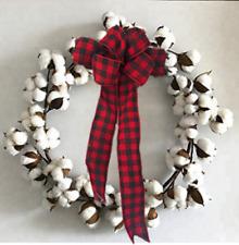 "Cotton Wreath Buffalo Ribbon Rustic Valentine Decor 18"" - 24"" Large"