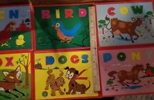 Vintage Childs Jigsaw Puzzle Cardboard Animals Fox Dog Hen Pony Cow 50's Spell