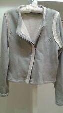 GAP Sweatshirt Moto Jacket Zipper Gray Heather M L 10/13 Motorcycle Style Womens