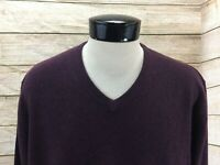 New Joseph Abboud 100% Cashmere V-Neck Sweater Mens XXL Maroon NWT $254 MSRP