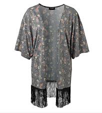 Neu Gina Damen Kimono Jacke Shirtjacke Blazer Bluse mit Fransen - Gr. 40