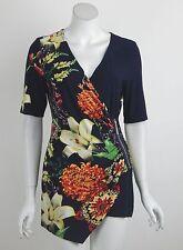 New Joseph Ribkoff Tunic Top Navy Multi-Color Floral Print V-Neck Size 10 NWT