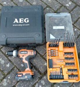 AEG 18V BSB 18G Cordless Drill, case, battery & AEG drill bit set