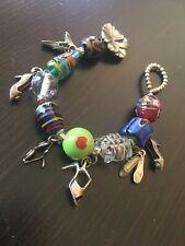 VTG Danforth Pewter Sterling Silver Murano Glass Charm Bracelet
