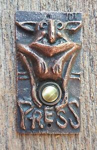 Weathered Copper Gargoyle Doorbell Button