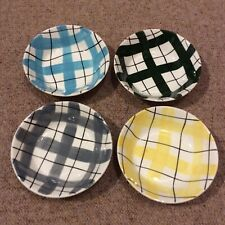 More details for 4 x poole 1950s gingham check small fruit bowls, empire harlequinade style