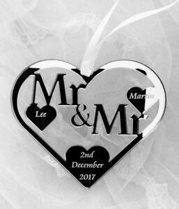 WEDDING HEART HORSE SHOE GIFT MR & MR CIVIL PARTNERSHIP