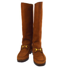 GUCCI Logos Shoes Long Boots Brown Nubuck Italy Vintage Authentic  AK31924f