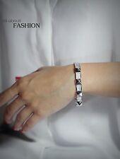 Bracelet Argenté Acier Inox Ouverable Rivets Cristal Nacre Gris Mariage TR1