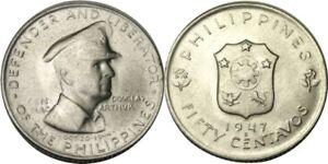 elf Philippines 50 Centavos 1947 S Silver MacArthur  San Francisco Mint