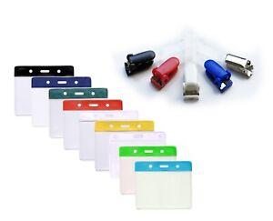 Flexible Plastic ID Card Holder Pocket & Crocodile ID Badge Clip Free P&P