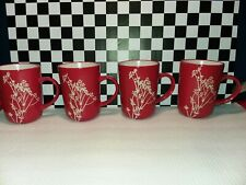American Atelier At Home 4 Red with White Blossom Branch Coffee Mugs