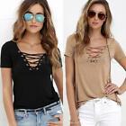 Plus S-5XL Zanzea Women Short Sleeve Lace Up Deep V Pullover Tops Blouse T-Shirt
