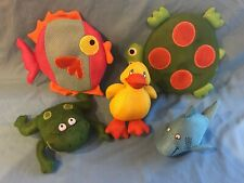 New Listing5 Large Colorful Fish, Frog, Turtle, Shark & Duck Plush Bathtub Pool Water Toys