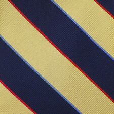 BROOKS BROTHERS Mens Yellow Navy Red STRIPED Woven Silk Tie USA NWT