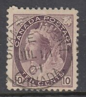 "Canada CDS Cancel Scott #83  10 cent brown violet  ""QV Numeral""   F"