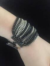 NEW BRACELET WOMEN BLACK SILVER STAINLESS STEEL