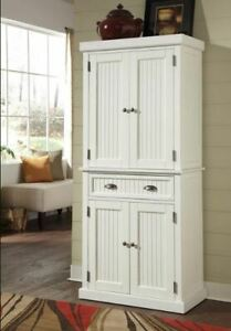 Nantucket Pantry White Distressed Finish Sanded Home Kitchen Wood Tall Cabinet