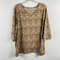 Catherines Plus Size 2X 22 24 Brown Printed T Shirt Knit Top V Neck 3/4 Sleeve
