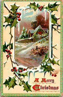 C. 1910 Tuck Merry Christmas Postcard Series #510 Hoar Frost And Winter Snow