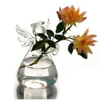 Set of 4 Cute Clear Glass Angel Shape Flower Plant Hanging Vase Wedding Decor vf