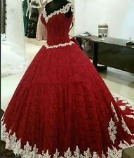 Vintage Red Lace Princess Wedding Dress Bridal Gown Custom Size 4-26++