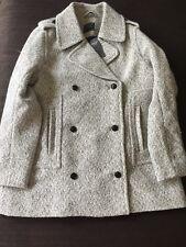 NWT Abercrombie & Fitch Wool-Blend PEACOAT Black And White Herringbone (L)