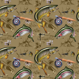 Trout Stream Fish Fly Fishing Rod Reel Premium Roll Gift Wrap Wrapping Paper