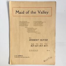 MAID OF THE VALLEY Vintage Sheet Music Herbert Oliver Signed