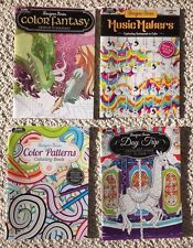 Lot Of 4 New Music, Travel/Outdoors & Fantasy Adult Coloring Books BN Grown Up