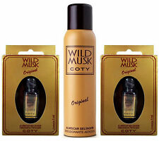 Pack 2 Wild Musk Oil Original Coty 0.2oz (5ml) + 1 Deodorant 4.46oz (132ml)