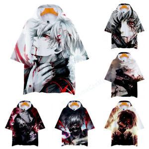 Tokyo Ghoul Kaneki Ken Spring Summer Short Sleeve Hoodie Sweats Shirt T-Shirt