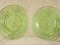 Green Depression Glass 2 Dinner  Plates  Etched Vintage 10""