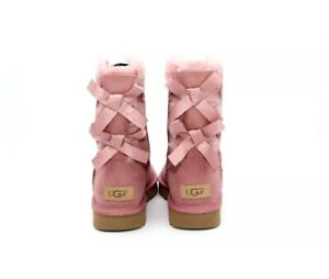 UGG BAILEY BOW II TWIN BOW PINK DAWN SUEDE SHEEPSKIN BOOTS SIZE 7 US