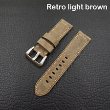 New 24mm Retro light brown calf watch strap for Panerai 44mm case (with buckle)