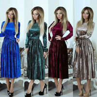 Women Casual Long Sleeve Velvet Maxi Gown Dress Evening Party Dinner Prom