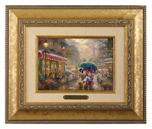 Thomas Kinkade Studios Mickey and Minnie In Paris Brushwork (Choice of Frame)