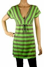 AQ120 short sleeves low V neck top - grey and green - S/M size