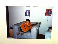 Vintage 80s Photo Little Boy 1st Time Playing Big Acoustic Guitar Sit On Sofa