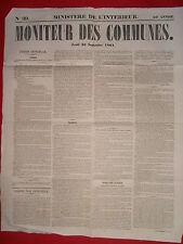 JOURNAL LE MONITEUR DES COMMUNES MINISTERE DE L'INTERIEUR 39 - 26 SEPTEMBRE 1861