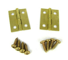 2pc. Small Square Brass Hinges w/ Screws - Great for Boxes and Crafts! 32-84-01