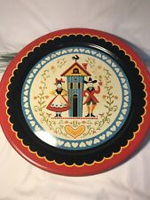 Vintage Pennsylvania Dutch Tray Boy & Girl House 19 Inch Diameter