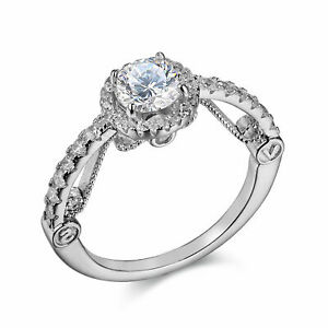 Round White Cz 925 Sterling Silver Wedding Engagement Ring For Women Size 10