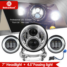 "7"" LED Headlight Headlamp With Chrome Bracket +4.5"" Fog Lamps For Harley 2014-18"
