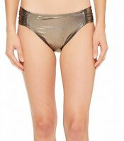 La Blanca Womens Swimwear Gold 6 Metallic Side Shirred Bikini Bottom $49- 248