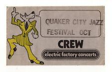 Qaker City Jazz Festival 1970's Electric Factory Concerts Backstage Pass