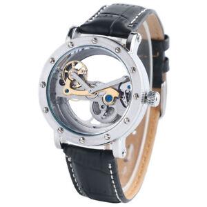 SHENHUA Steampunk Hollow Dial Mechanical Automatic Self-Winding Men Wrist Watch