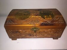 WOODEN JEWELRY DRESSER BOX CEDAR CHEST TRINKET MIRROR HINGED LID CARVED FOOTED