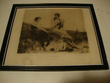1884 Antique black and white picture in frame /By The Seaside / cleaned and nice